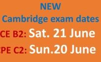 NEW CAMBRIDGE EXAM DATES